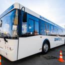 Бесплатные автобусы, отвозящие студентов и работников ДВФУ из Владивостока в кампус на острове Русский и обратно, зима 2020